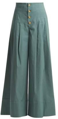 Sea - Bernadette High Rise Wide Leg Trousers - Womens - Khaki