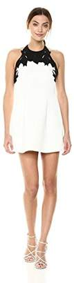 Halston Women's Sleeveless High Neck with Embroidered Top Dress,2