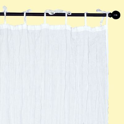 White Crinkle Voile Curtain Panel