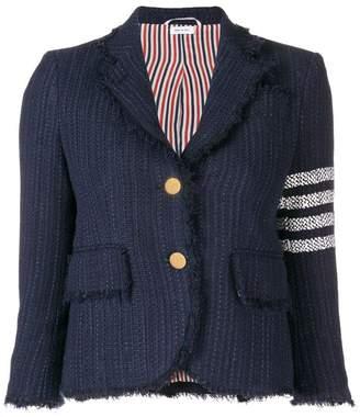 Thom Browne 4-Bar Frayed Tweed Sport Coat