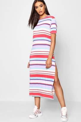boohoo Multi Stripe High Split Midaxi Tee Dress
