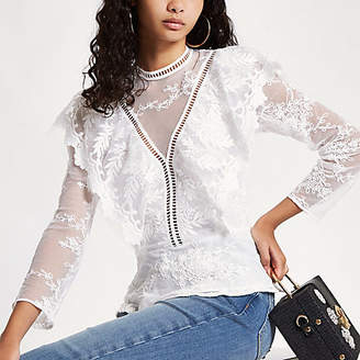 River Island White lace long sleeve frill top