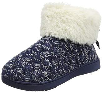 Isotoner Women's Cable Knit Bootie Hi-Top Slippers,40 EU