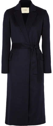 Maje Belted Brushed Wool-blend Felt Coat - Midnight blue