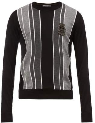 Dolce & Gabbana Embroidered Logo Striped Virgin Wool Sweater - Mens - Grey Multi
