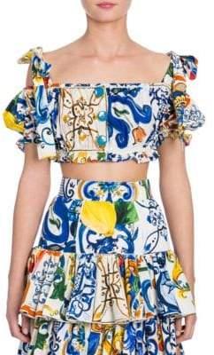 Dolce & Gabbana Maiolica Cotton Tie-shoulder Crop Top