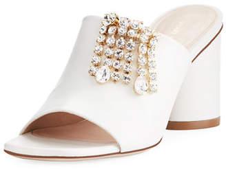 TheOne Embellished Leather Slide Sandal