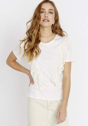 Buffalo David Bitton LACE RUFFLE TEE