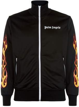 Palm Angels Flame Logo Zip-Up Sweatshirt