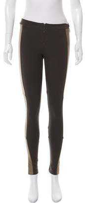Alice + Olivia Leather-Accented Mid-Rise Leggings