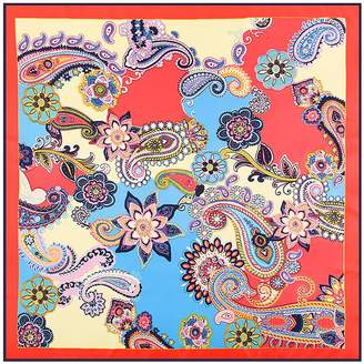 "Mulberry Anshili Women's Flowers Silk Square Sarf 40""x40"""