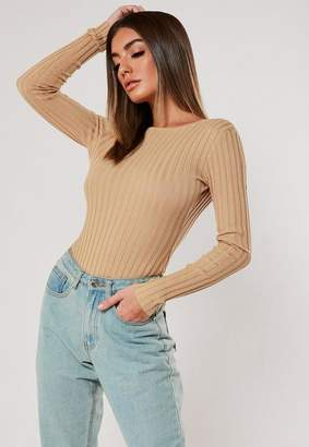 Missguided Camel Rib Scoop Back Bodysuit