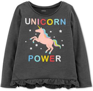 Carter's Baby Girls Unicorn-Print Ruffled T-Shirt
