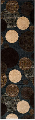 "Km Home Closeout! Km Home Sanford Comet Black/Blue 2'3"" x 7'7"" Runner Rug, Created for Macy's"