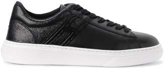 Hogan H365 Black Leather And Suede Sneaker Reptile Effect