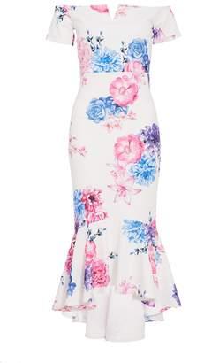 Quiz White Floral Bardot Dip Hem Dress
