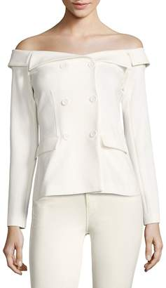 """L'Agence L""""AGENCE Women's Stephan Double-Breasted Off-The-Shoulder Jacket"""