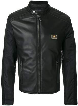Dolce & Gabbana logo plaque leather jacket