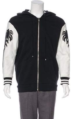 Adaptation Palm Tree Leather-Trimmed Hoodie w/ Tags