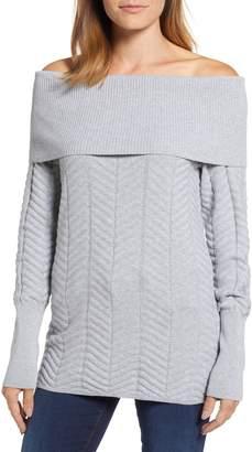 Chaus Off the Shoulder Chevron Cotton Sweater