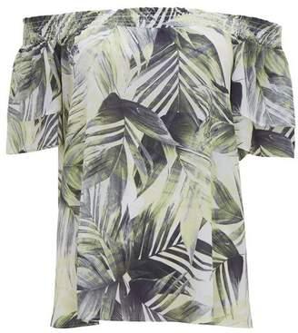 Wallis Yellow Palm Bardot Blouse
