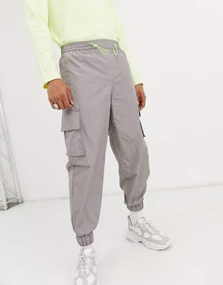 Asos tapered sweatpants in silver nylon