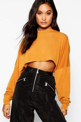 boohoo Oversized Knitted Box Crop Top
