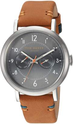 Ted Baker Men's 'AIDEN' Quartz Stainless Steel and Leather Casual Watch, Color:Brown (Model: TE15192001)