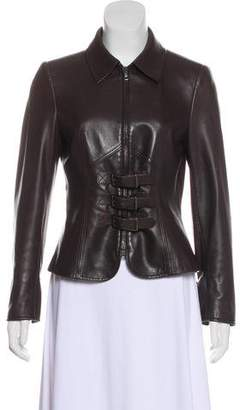 Valentino Buckle-Accented Leather Jacket
