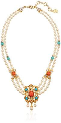 Santorini Ben-Amun Jewelry Turquoise Coral Stone Pearl Strand Gold Pendant Necklace