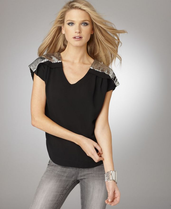 Bcbgmaxazria BCBGeneration Top, Short Sleeve Sequined
