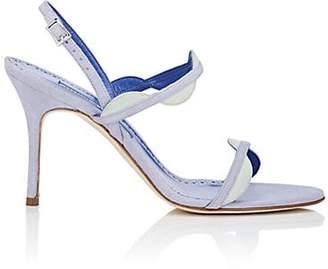 Manolo Blahnik Women's Katana Suede Sandals - Blue Suede