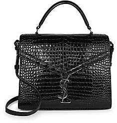 Saint Laurent Women's Cassandra Croc-Embossed Leather Satchel