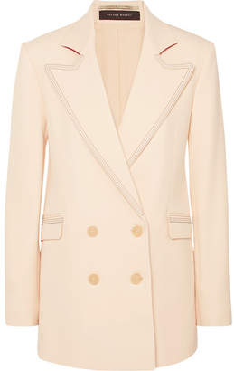 Roland Mouret Gilroy Double-breasted Alpaca And Wool-blend Twill Blazer - Cream