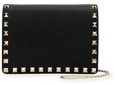 Valentino Rockstud Vitello Chain Clutch Bag