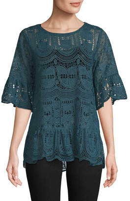 Anna Sui Cupid's Clouds & Scallop Lace Blouse