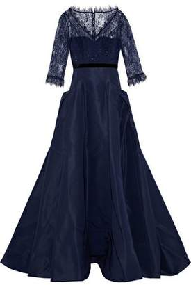 Carolina Herrera Embellished Lace-Paneled Duchesse Satin Gown