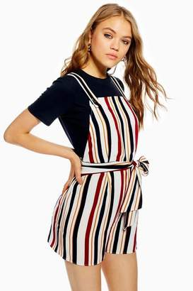 Topshop Womens Striped Pinafore Playsuit