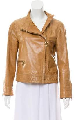 Marc Jacobs Leather Collarless Jacket