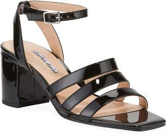 Charles David Crispin Trio-Strap Patent Sandals