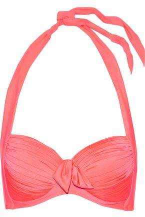Knotted Pleated Halterneck Bikini Top