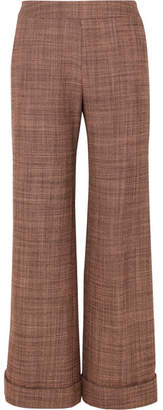 Agnona Wool-tweed Straight-leg Pants - Brown