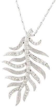 14K Diamond Feather Pendant Necklace