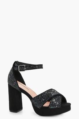 boohoo Isla Glitter Platform Heels