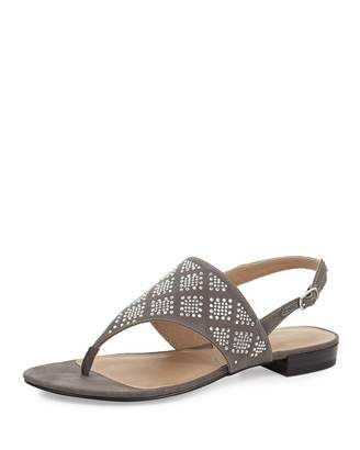 Adrienne Vittadini Merian Cystal Suede Thong Sandal, Gray $59 thestylecure.com