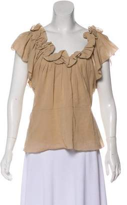 Christian Dior Ruffle-Trimmed Sleeveless Top