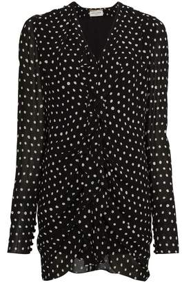 Saint Laurent Silk Ruffle Polka Dot Dress