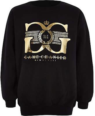 River Island Boys black 'game changer' gold foil sweater