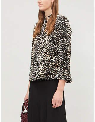 Ganni Leopard-print quilted satin jacket