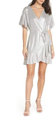 BB Dakota Metallic Ruffle Wrap Dress